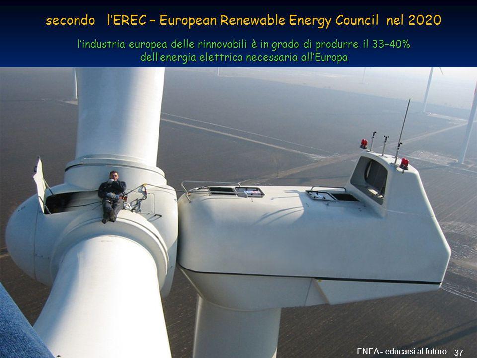 Energia dal vento 37 ENEA - educarsi al futuro secondo l'EREC – European Renewable Energy Council nel 2020 l'industria europea delle rinnovabili è in grado di produrre il 33–40% dell'energia elettrica necessaria all'Europa