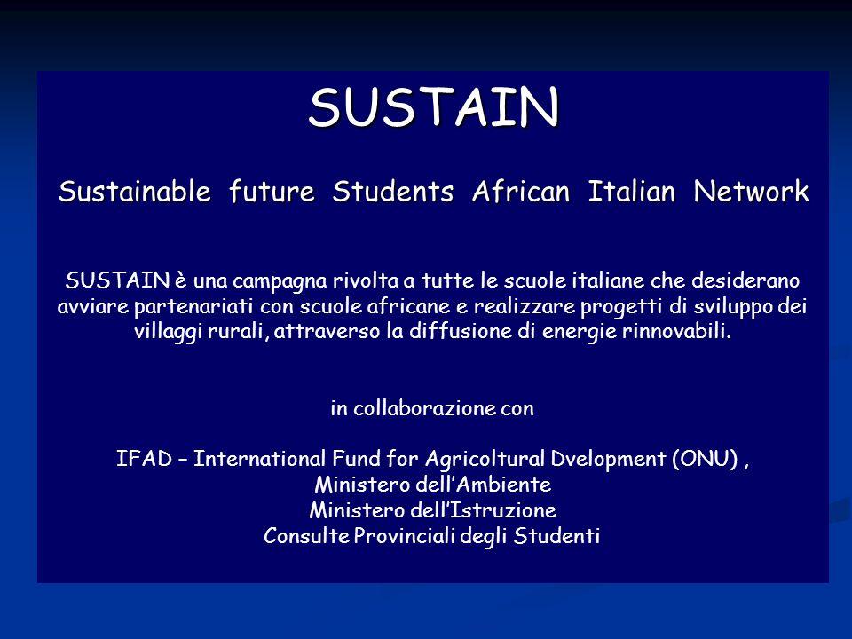 Sustain SUSTAIN Sustainable future Students African Italian Network SUSTAIN è una campagna rivolta a tutte le scuole italiane che desiderano avviare partenariati con scuole africane e realizzare progetti di sviluppo dei villaggi rurali, attraverso la diffusione di energie rinnovabili.