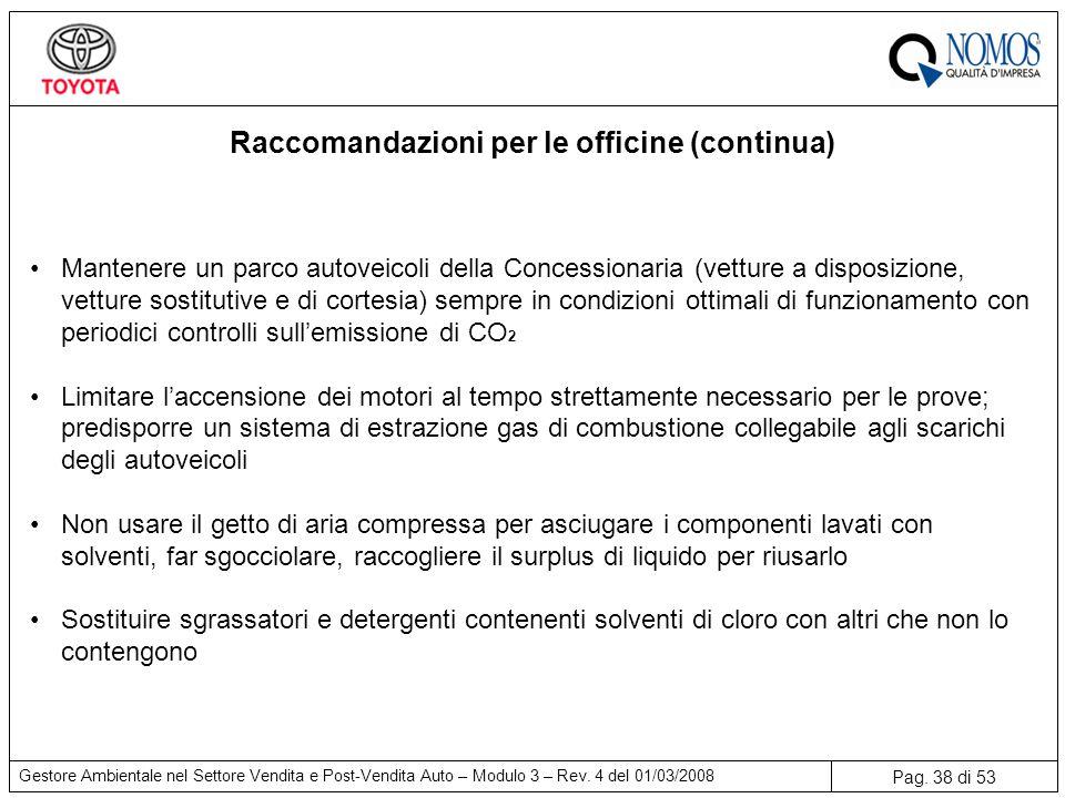 Pag.38 di 53 Gestore Ambientale nel Settore Vendita e Post-Vendita Auto – Modulo 3 – Rev.