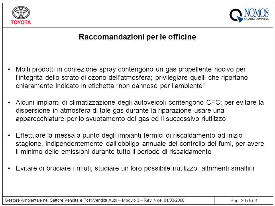 Pag.39 di 53 Gestore Ambientale nel Settore Vendita e Post-Vendita Auto – Modulo 3 – Rev.
