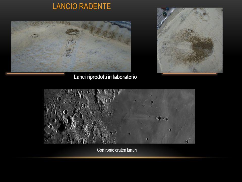 Confronto crateri lunari Lanci riprodotti in laboratorio LANCIO RADENTE
