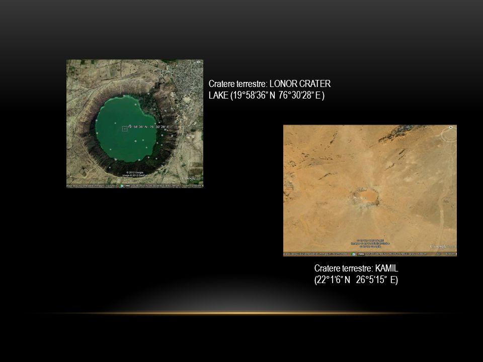 Cratere terrestre: LONOR CRATER LAKE (19°58'36 N 76°30'28 E ) Cratere terrestre: KAMIL (22°1'6 N 26°5'15 E)