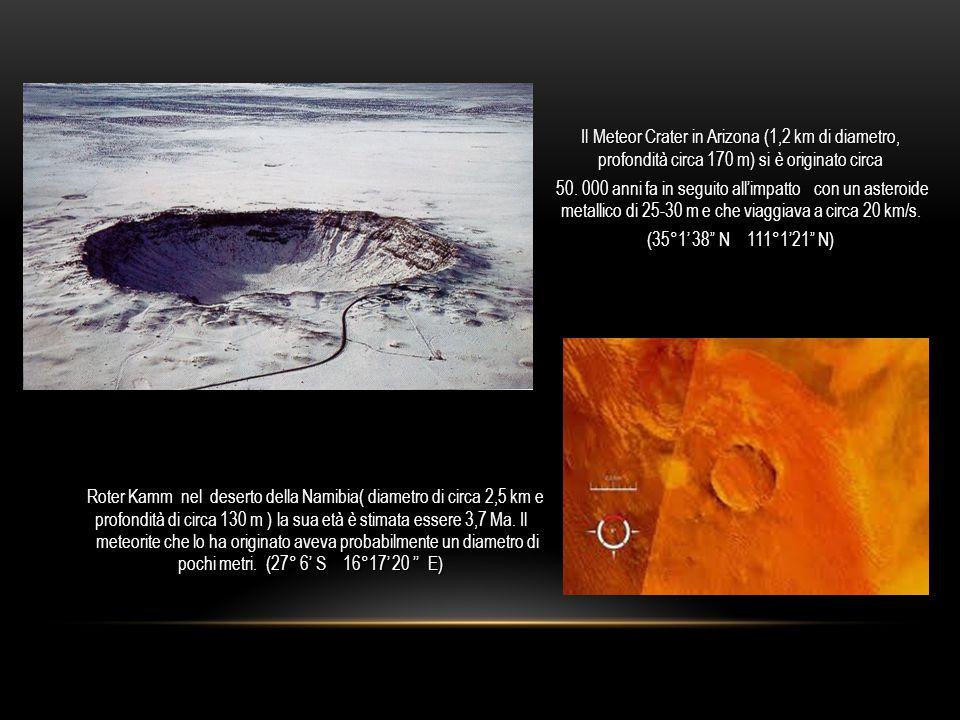Il Meteor Crater in Arizona (1,2 km di diametro, profondità circa 170 m) si è originato circa 50.