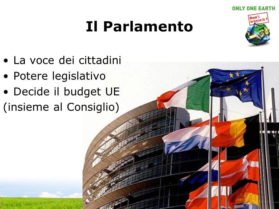 Il Parlamento La voce dei cittadini Potere legislativo Decide il budget UE (insieme al Consiglio)