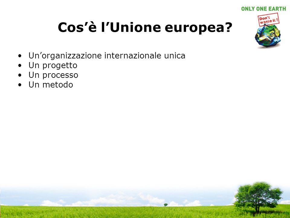 Cos'è l'Unione europea? Un'organizzazione internazionale unica Un progetto Un processo Un metodo