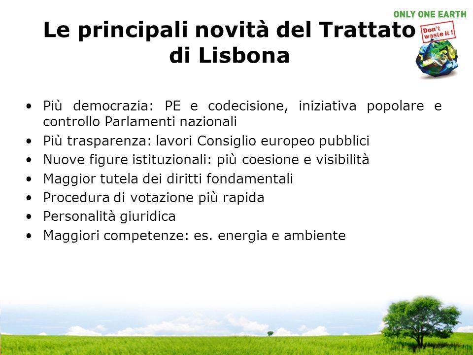 Più democrazia: PE e codecisione, iniziativa popolare e controllo Parlamenti nazionali Più trasparenza: lavori Consiglio europeo pubblici Nuove figure