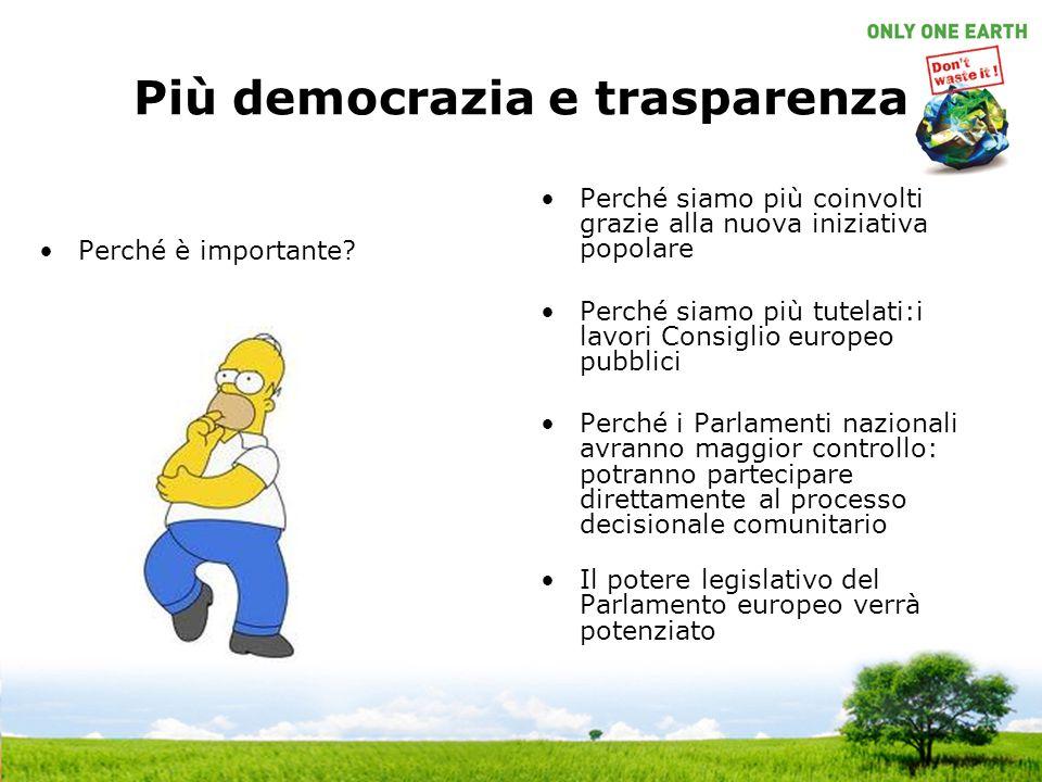 Più democrazia e trasparenza Perché è importante? Perché siamo più coinvolti grazie alla nuova iniziativa popolare Perché siamo più tutelati:i lavori