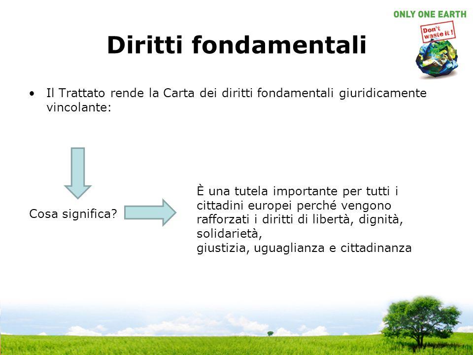 Diritti fondamentali Il Trattato rende la Carta dei diritti fondamentali giuridicamente vincolante: Cosa significa? È una tutela importante per tutti