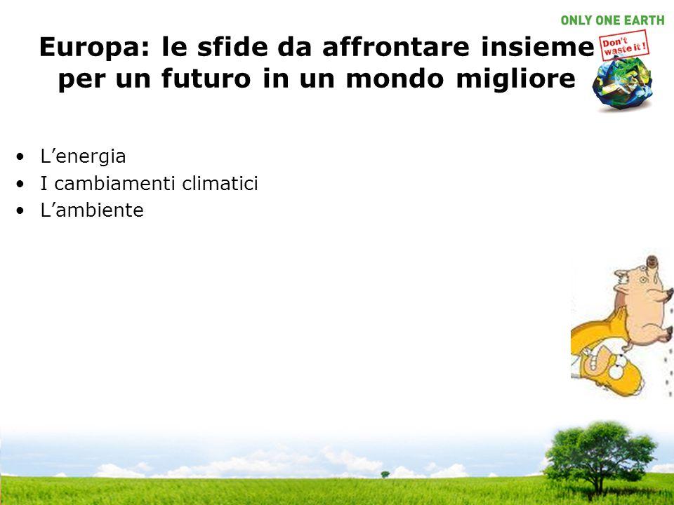 Europa: le sfide da affrontare insieme per un futuro in un mondo migliore L'energia I cambiamenti climatici L'ambiente
