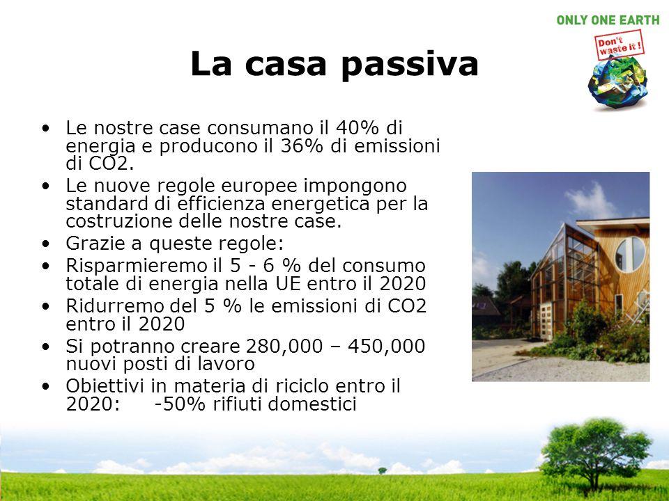 La casa passiva Le nostre case consumano il 40% di energia e producono il 36% di emissioni di CO2. Le nuove regole europee impongono standard di effic