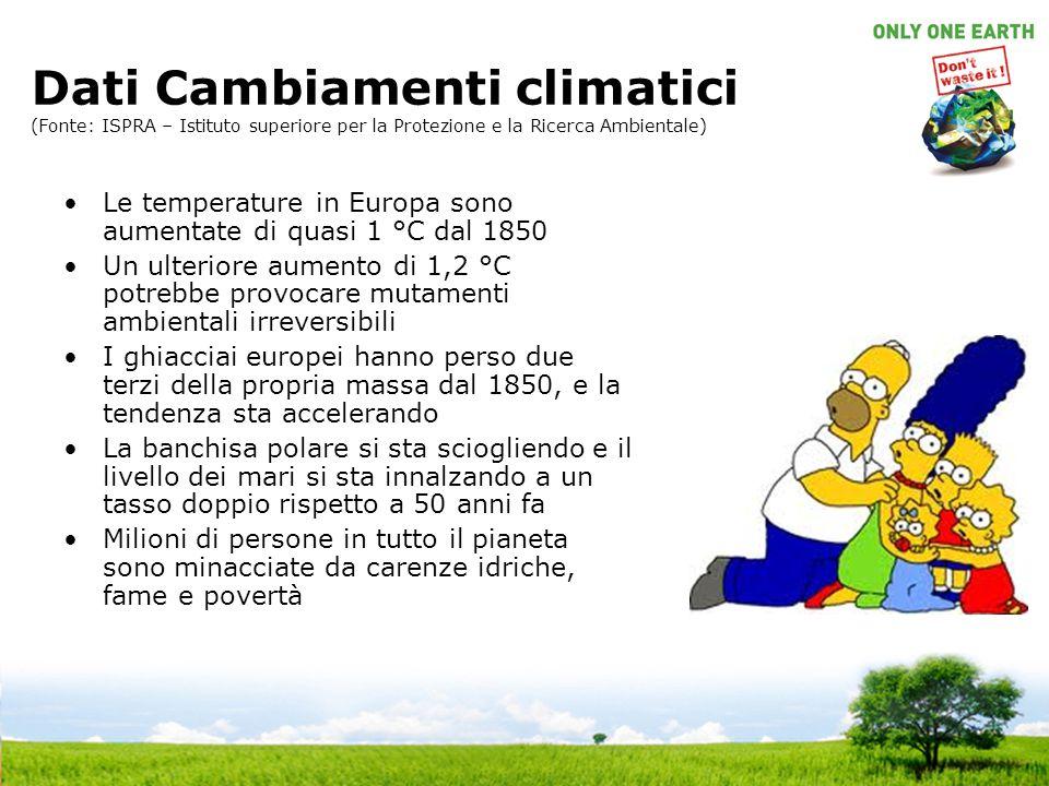 Dati Cambiamenti climatici (Fonte: ISPRA – Istituto superiore per la Protezione e la Ricerca Ambientale) Le temperature in Europa sono aumentate di qu