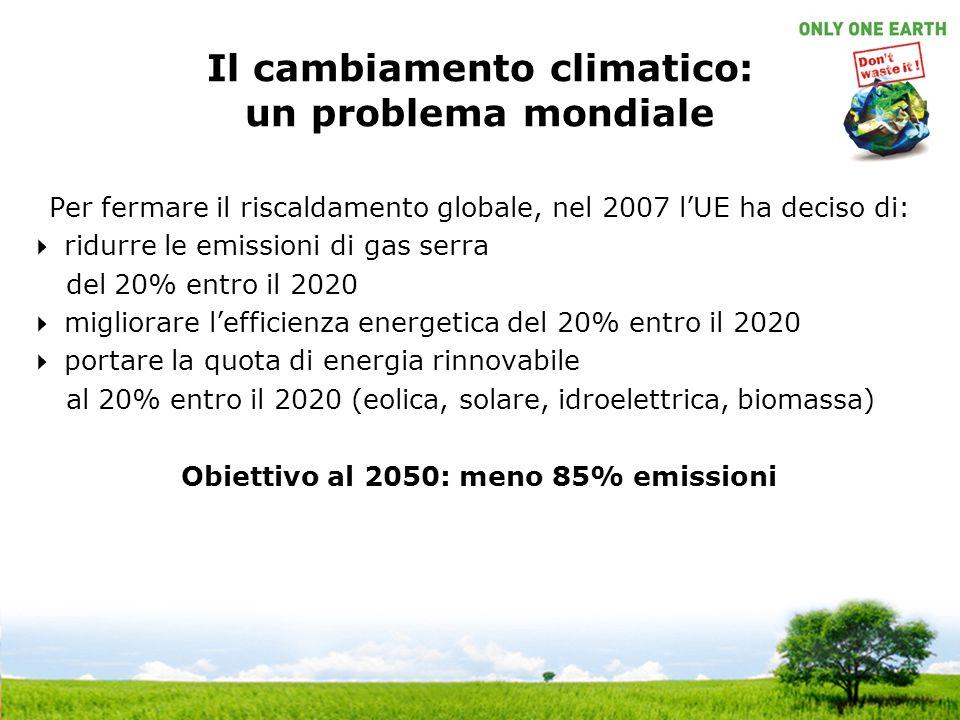 Il cambiamento climatico: un problema mondiale Per fermare il riscaldamento globale, nel 2007 l'UE ha deciso di:  ridurre le emissioni di gas serra d