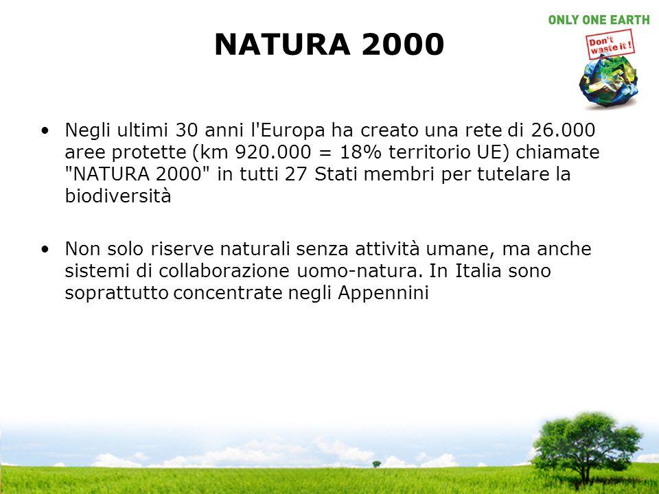 NATURA 2000 Negli ultimi 30 anni l'Europa ha creato una rete di 26.000 aree protette (km 920.000 = 18% territorio UE) chiamate