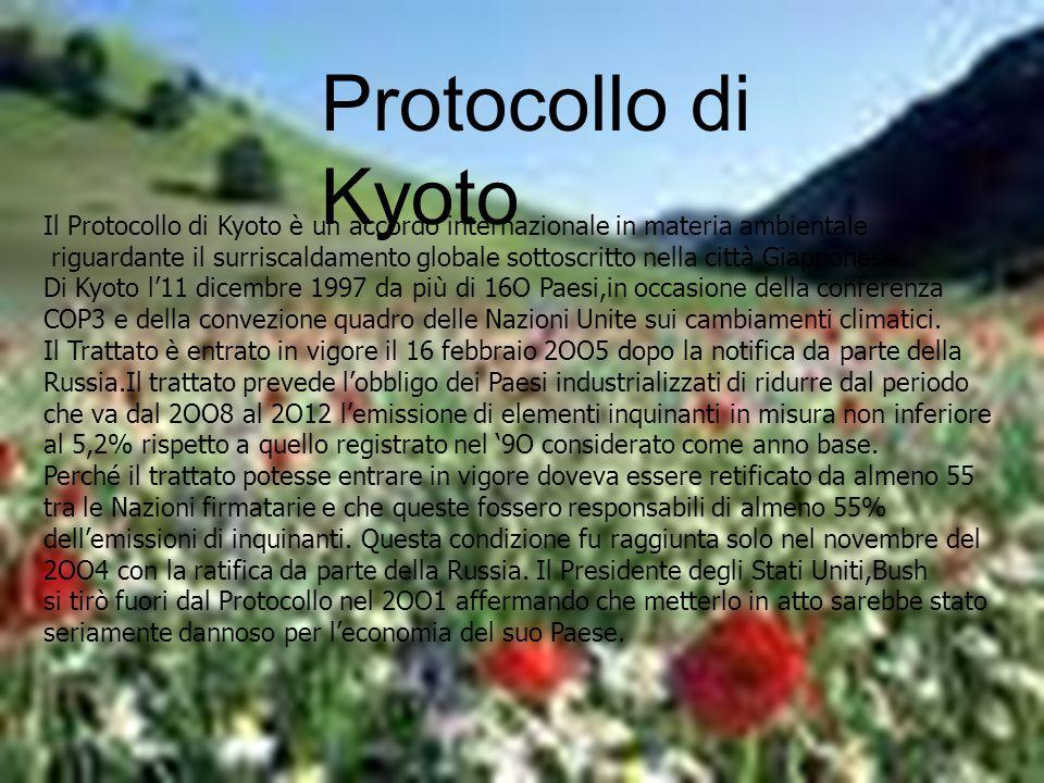 Protocollo di Kyoto Il Protocollo di Kyoto è un accordo internazionale in materia ambientale riguardante il surriscaldamento globale sottoscritto nell