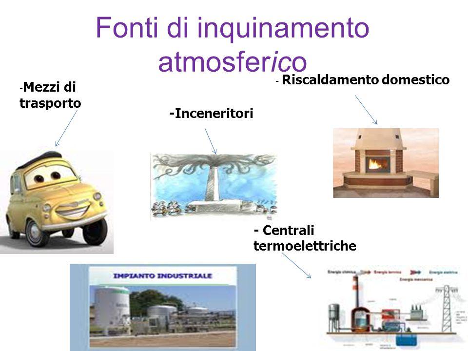 Fonti di inquinamento atmosferico - Mezzi di trasporto - Riscaldamento domestico - Centrali termoelettriche -Inceneritori