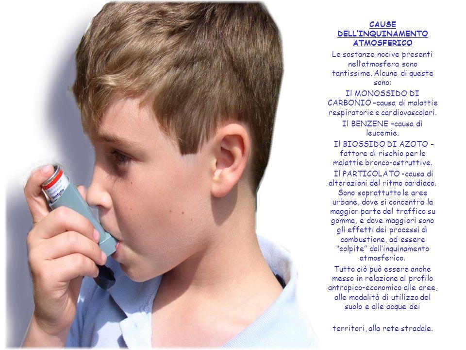 CAUSE DELL'INQUINAMENTO ATMOSFERICO Le sostanze nocive presenti nell'atmosfera sono tantissime. Alcune di queste sono: Il MONOSSIDO DI CARBONIO –causa