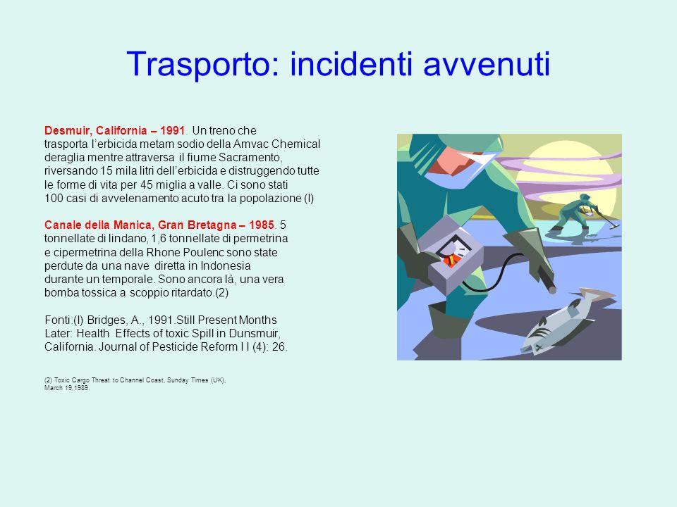 Trasporto: incidenti avvenuti Desmuir, California – 1991. Un treno che trasporta l'erbicida metam sodio della Amvac Chemical deraglia mentre attravers
