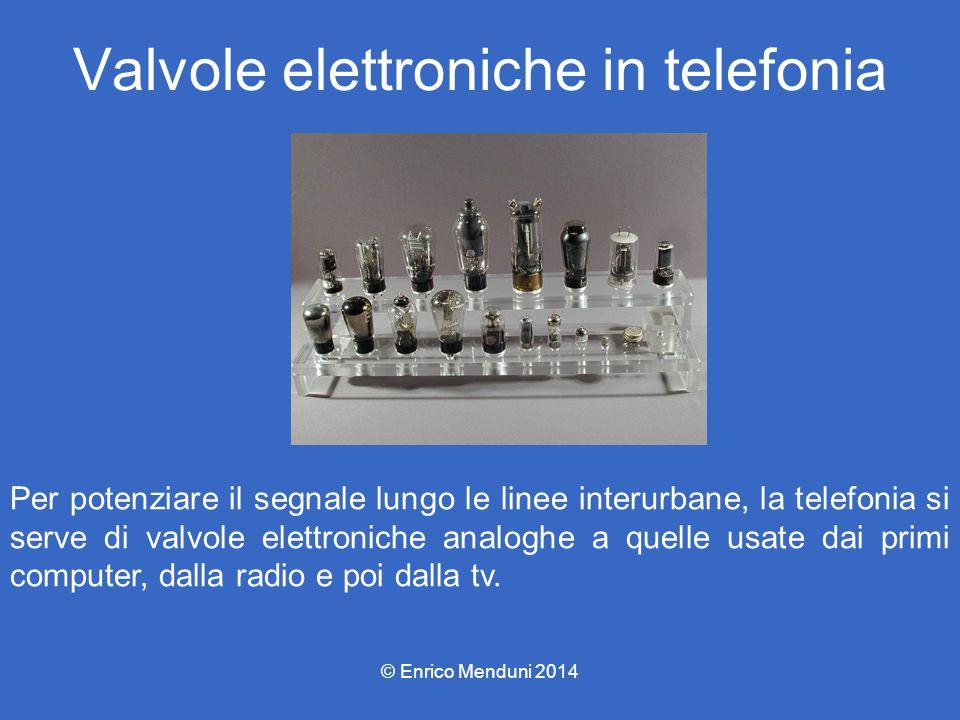 Valvole elettroniche in telefonia Per potenziare il segnale lungo le linee interurbane, la telefonia si serve di valvole elettroniche analoghe a quell