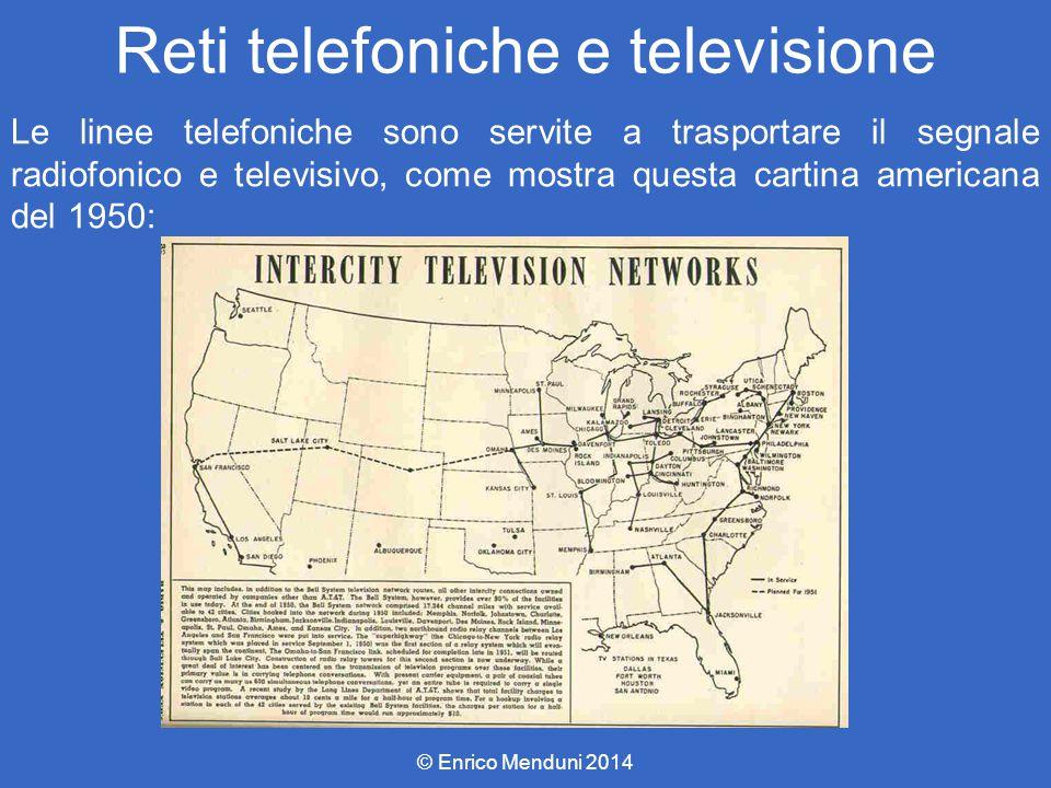 Reti telefoniche e televisione Le linee telefoniche sono servite a trasportare il segnale radiofonico e televisivo, come mostra questa cartina america