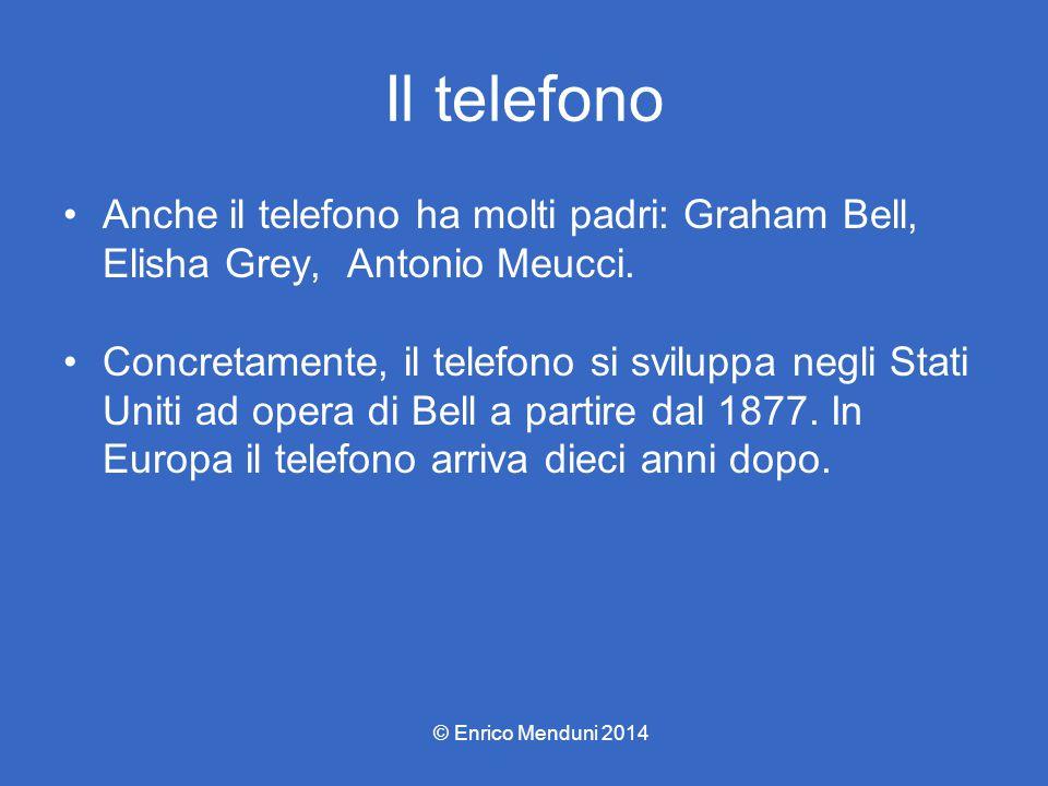 Il telefono Anche il telefono ha molti padri: Graham Bell, Elisha Grey, Antonio Meucci. Concretamente, il telefono si sviluppa negli Stati Uniti ad op