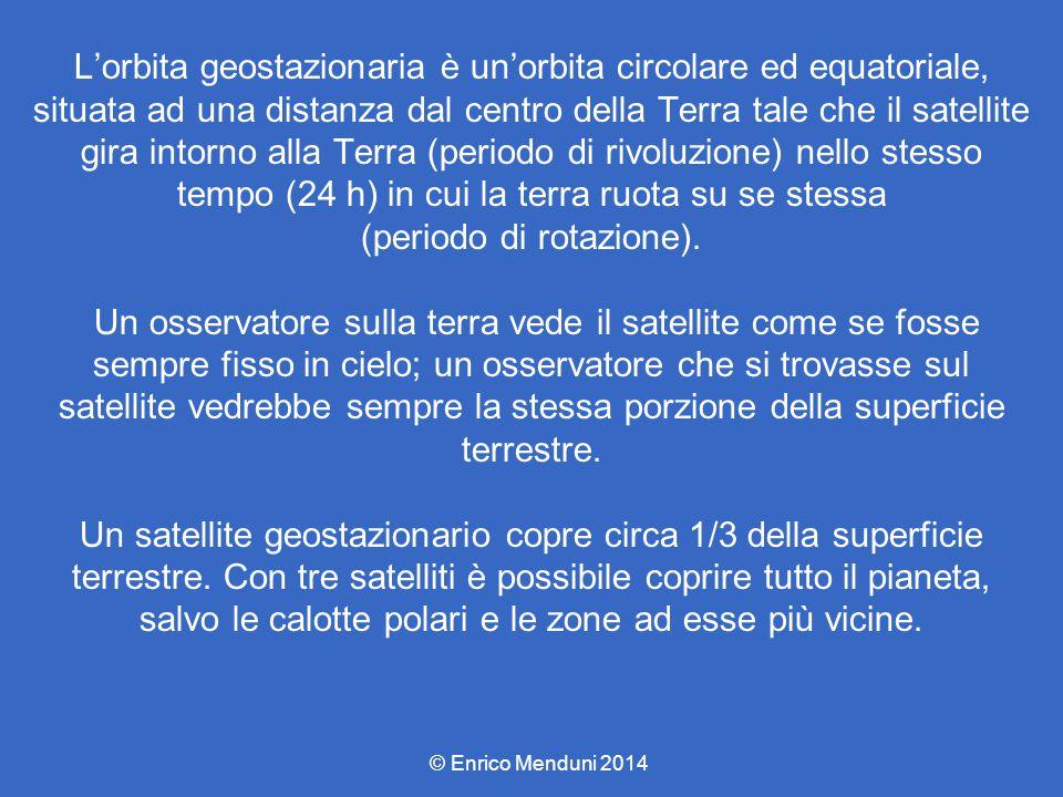 L'orbita geostazionaria è un'orbita circolare ed equatoriale, situata ad una distanza dal centro della Terra tale che il satellite gira intorno alla T