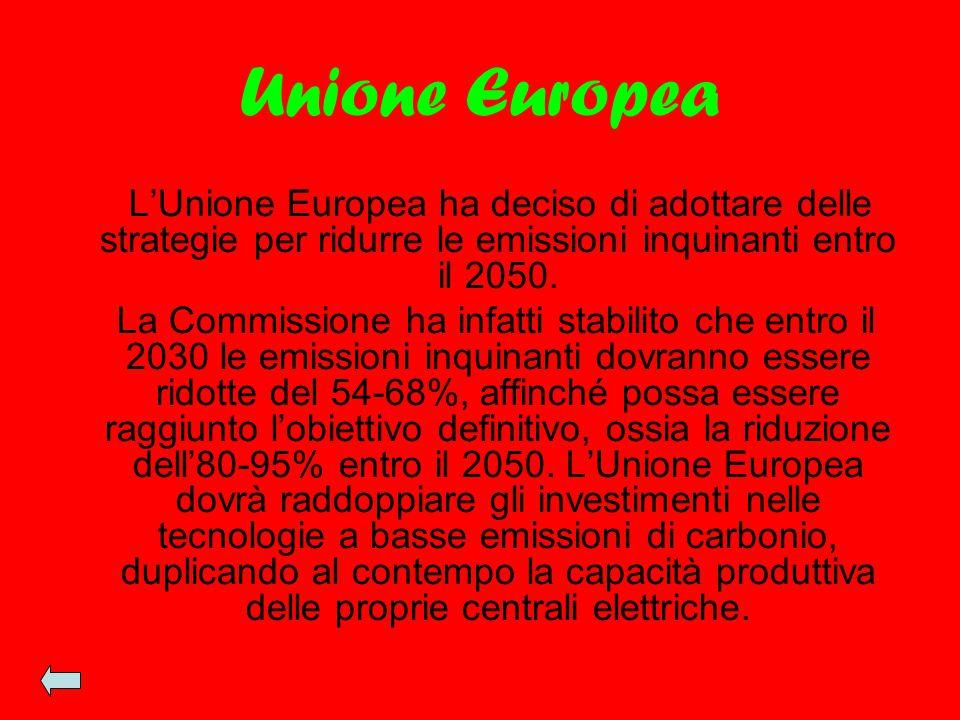 Unione Europea L'Unione Europea ha deciso di adottare delle strategie per ridurre le emissioni inquinanti entro il 2050. La Commissione ha infatti sta