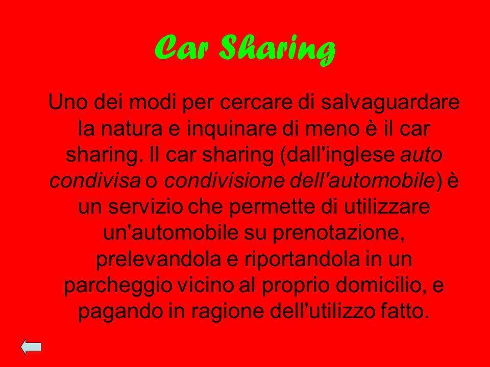 Car Sharing Uno dei modi per cercare di salvaguardare la natura e inquinare di meno è il car sharing. Il car sharing (dall'inglese auto condivisa o co