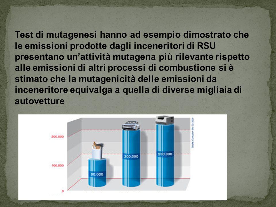 Test di mutagenesi hanno ad esempio dimostrato che le emissioni prodotte dagli inceneritori di RSU presentano un'attività mutagena più rilevante rispe