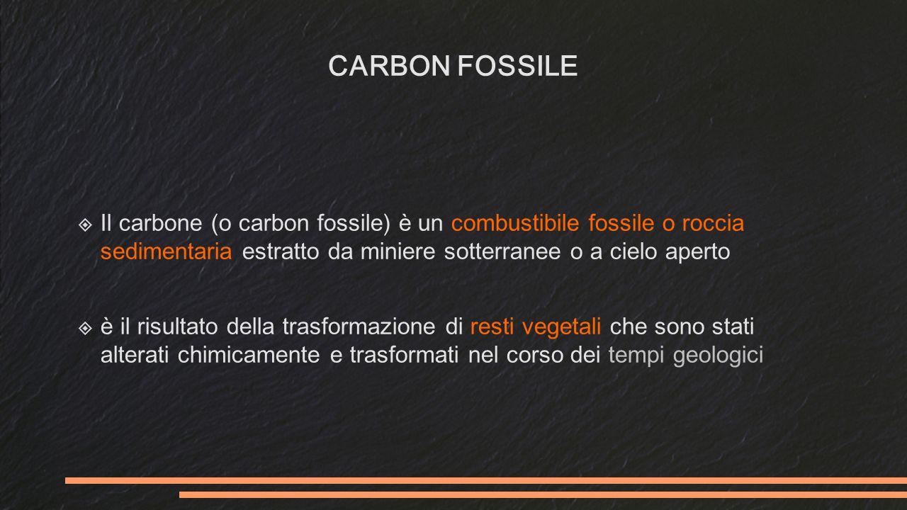 CARBON FOSSILE  Il carbone (o carbon fossile) è un combustibile fossile o roccia sedimentaria estratto da miniere sotterranee o a cielo aperto  è il risultato della trasformazione di resti vegetali che sono stati alterati chimicamente e trasformati nel corso dei tempi geologici