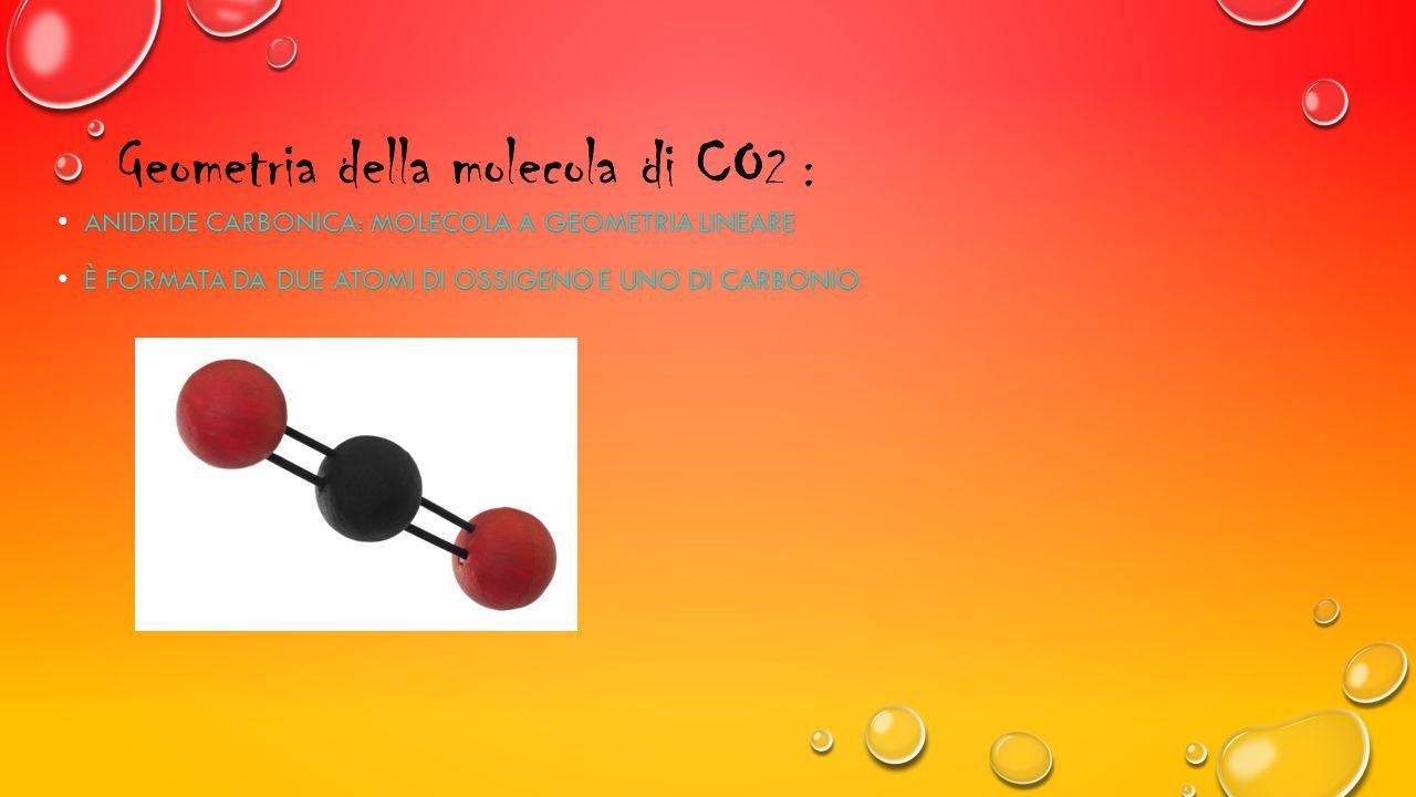 Geometria della molecola di CO 2 : ANIDRIDE CARBONICA: MOLECOLA A GEOMETRIA LINEARE ANIDRIDE CARBONICA: MOLECOLA A GEOMETRIA LINEARE È FORMATA DA DUE ATOMI DI OSSIGENO E UNO DI CARBONIO È FORMATA DA DUE ATOMI DI OSSIGENO E UNO DI CARBONIO