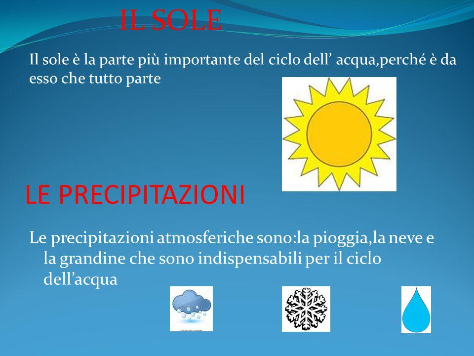 LE PRECIPITAZIONI Le precipitazioni atmosferiche sono:la pioggia,la neve e la grandine che sono indispensabili per il ciclo dell'acqua IL SOLE Il sole è la parte più importante del ciclo dell' acqua,perché è da esso che tutto parte