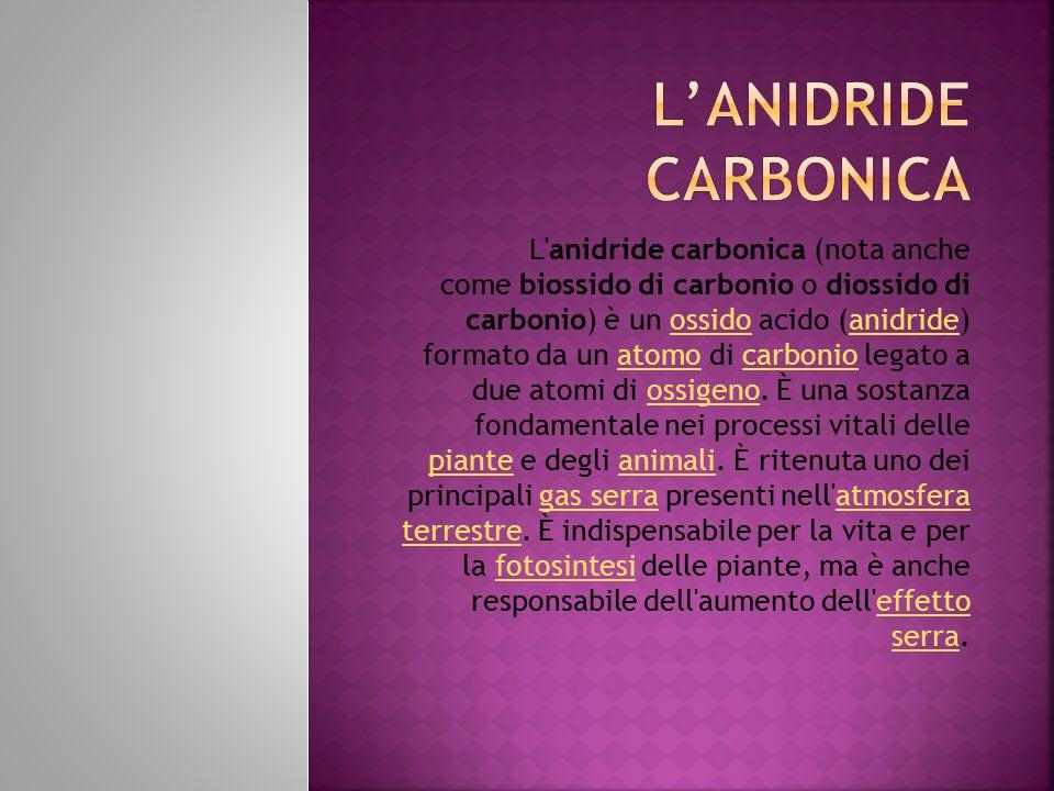 L anidride carbonica (nota anche come biossido di carbonio o diossido di carbonio) è un ossido acido (anidride) formato da un atomo di carbonio legato a due atomi di ossigeno.