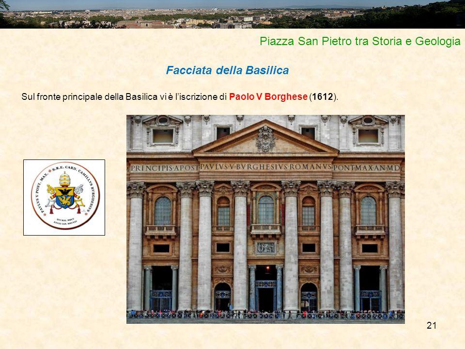 21 Piazza San Pietro tra Storia e Geologia Facciata della Basilica Sul fronte principale della Basilica vi è l'iscrizione di Paolo V Borghese (1612).