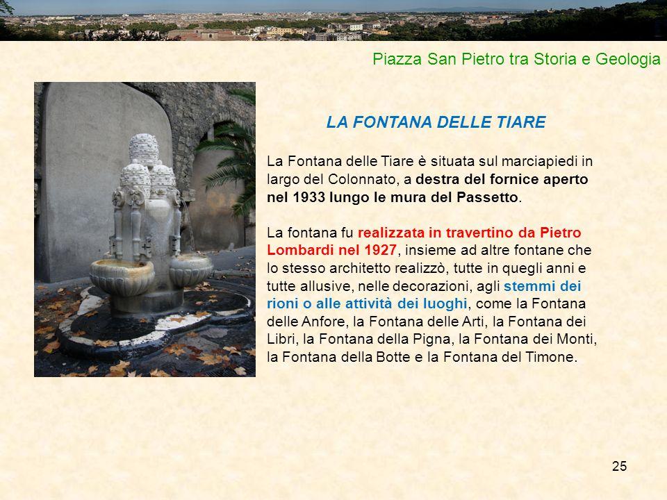 25 Piazza San Pietro tra Storia e Geologia LA FONTANA DELLE TIARE La Fontana delle Tiare è situata sul marciapiedi in largo del Colonnato, a destra de