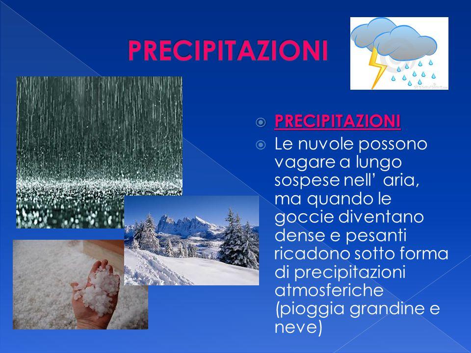  RITORNO  Le precipitazioni atmosferiche portano l' acqua sulla Terra: in parte ritorna nei mari, nei fiumi e nei laghi.