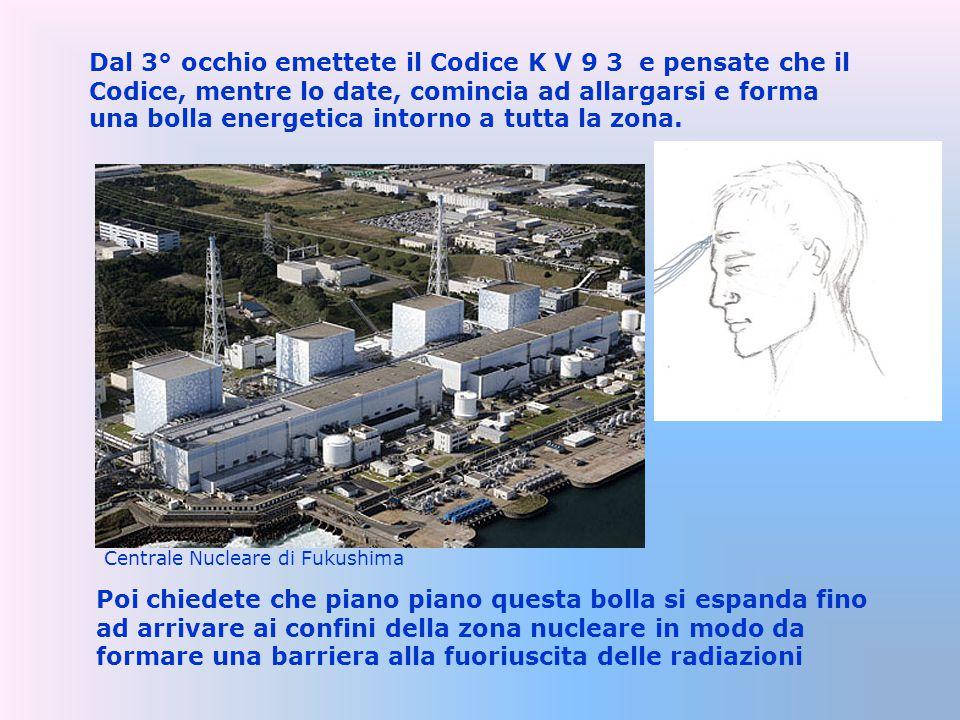 Dal 3° occhio emettete il Codice K V 9 3 e pensate che il Codice, mentre lo date, comincia ad allargarsi e forma una bolla energetica intorno a tutta la zona.