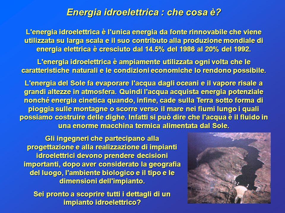 Energia idroelettrica : che cosa è? L'energia idroelettrica è l'unica energia da fonte rinnovabile che viene utilizzata su larga scala e il suo contri