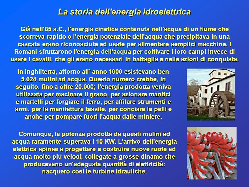 La storia dell'energia idroelettrica Già nell'85 a.C., l'energia cinetica contenuta nell'acqua di un fiume che scorreva rapido o l'energia potenziale