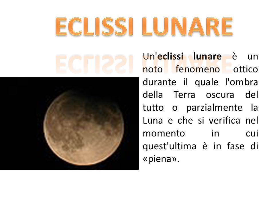 Un eclissi lunare è un noto fenomeno ottico durante il quale l ombra della Terra oscura del tutto o parzialmente la Luna e che si verifica nel momento in cui quest ultima è in fase di «piena».