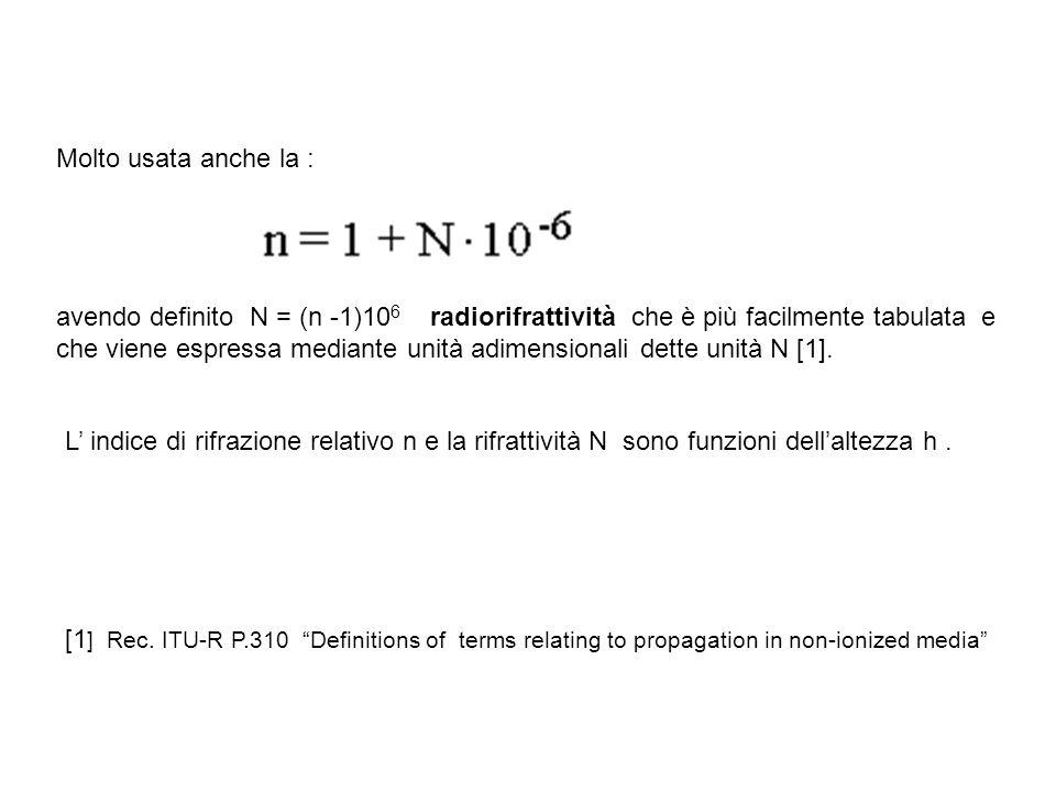 Molto usata anche la : avendo definito N = (n -1)10 6 radiorifrattività che è più facilmente tabulata e che viene espressa mediante unità adimensional