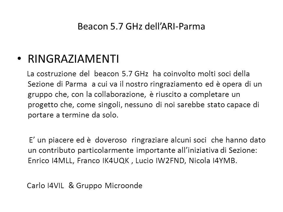 Beacon 5.7 GHz dell'ARI-Parma RINGRAZIAMENTI La costruzione del beacon 5.7 GHz ha coinvolto molti soci della Sezione di Parma a cui va il nostro ringr