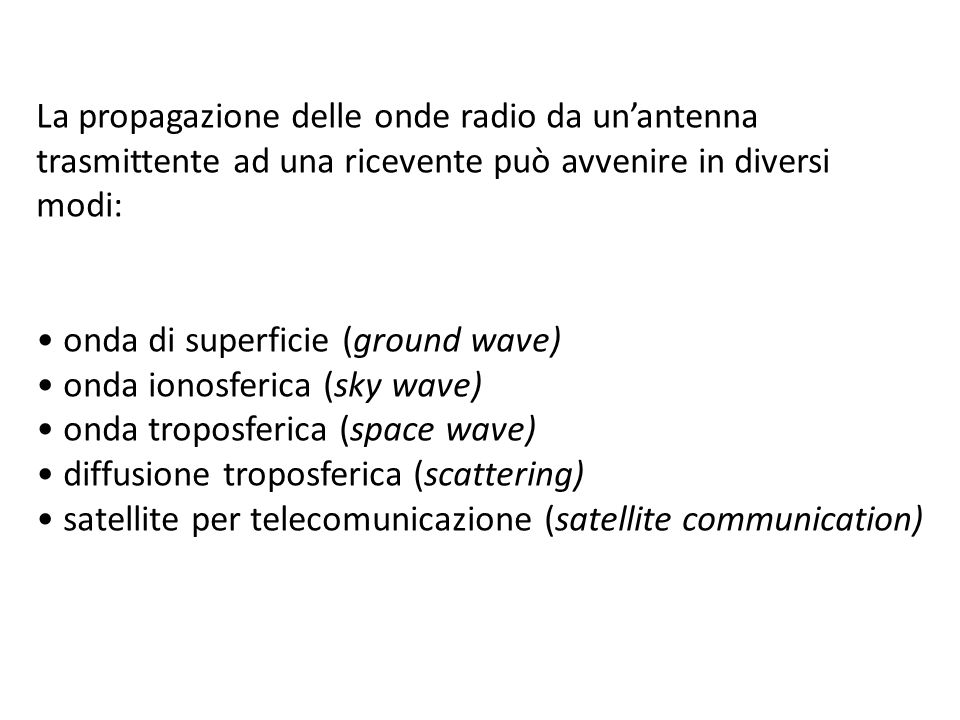 La propagazione delle onde radio da un'antenna trasmittente ad una ricevente può avvenire in diversi modi: onda di superficie (ground wave) onda ionosferica (sky wave) onda troposferica (space wave) diffusione troposferica (scattering) satellite per telecomunicazione (satellite communication)