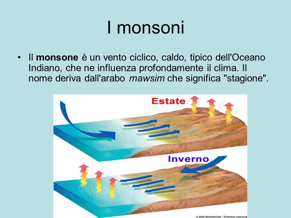 I monsoni Il monsone è un vento ciclico, caldo, tipico dell Oceano Indiano, che ne influenza profondamente il clima.