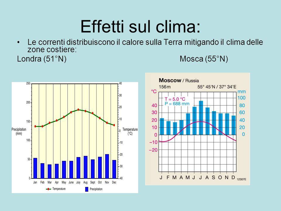 Effetti sul clima: Le correnti distribuiscono il calore sulla Terra mitigando il clima delle zone costiere: Londra (51°N)Mosca (55°N)
