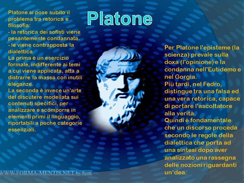 La sistemazione aristotelica della retorica comprendeva: - Una teoria dell argomentazione che ne è l asse portante e fornisce legami con la logica dimostrativa e la filosofia - Una teoria dell elocuzione - Una teoria della composizione del discorso.