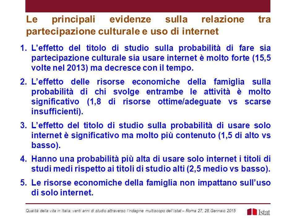 Le principali evidenze sulla relazione tra partecipazione culturale e uso di internet 1.L'effetto del titolo di studio sulla probabilità di fare sia p