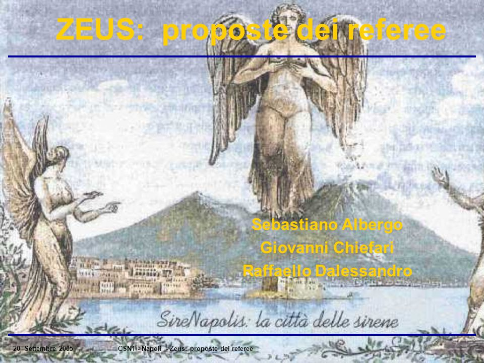 20 Settembre 2005CSN1 - Napoli - Zeus: proposte dei referee ZEUS: proposte dei referee Sebastiano Albergo Giovanni Chiefari Raffaello Dalessandro