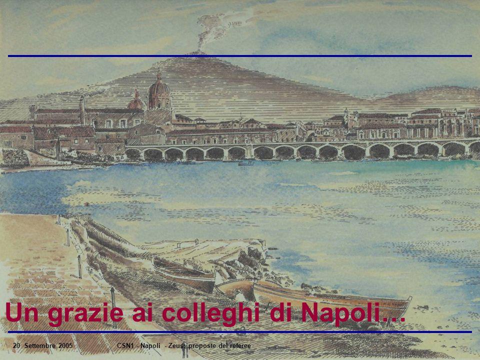 20 Settembre 2005CSN1 - Napoli - Zeus: proposte dei referee Un grazie ai colleghi di Napoli…