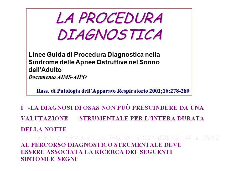 LA PROCEDURA DIAGNOSTICA Linee Guida di Procedura Diagnostica nella Sindrome delle Apnee Ostruttive nel Sonno dell'Adulto Documento AIMS-AIPO Rass. di