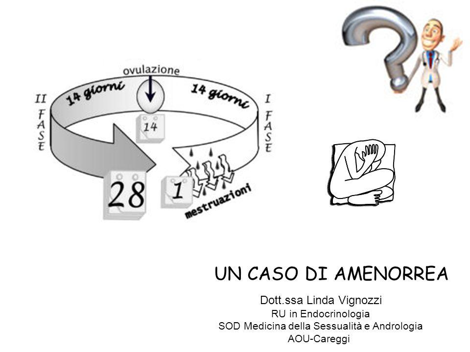 UN CASO DI AMENORREA Dott.ssa Linda Vignozzi RU in Endocrinologia SOD Medicina della Sessualità e Andrologia AOU-Careggi